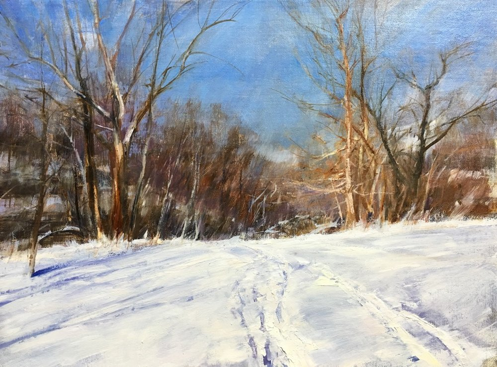 """Cherokee Park Path"" by Valtcho Tonov, 12x16 in, oil on linen panel (2016), $700 (comes in plein air style dark frame) 