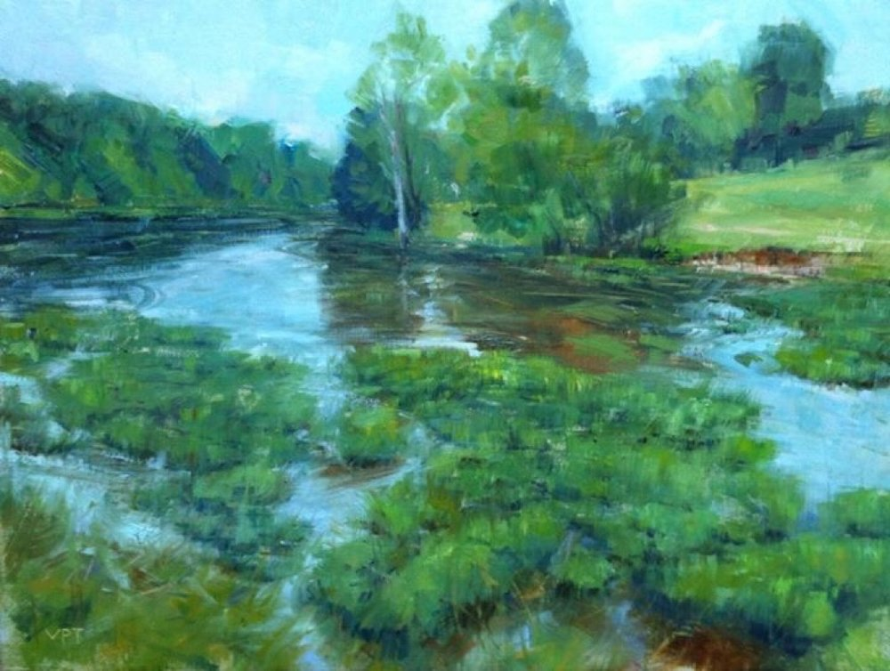 """Mc Neely Lake, Louisville"" by Valtcho Tonov, 12x16in, oil on linen panel (2016), $700 (comes in plein air style dark frame) 