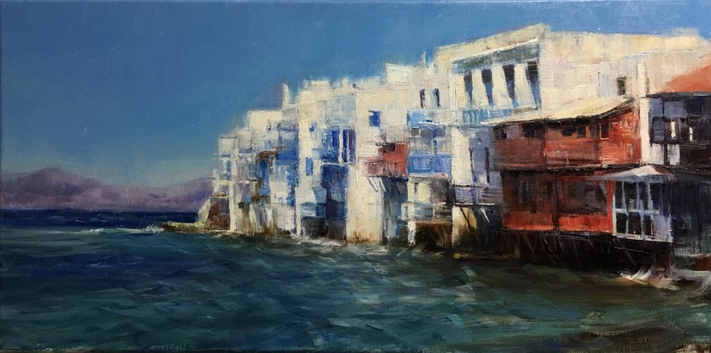 """Greece"" by Valtcho Tonov, 10x20 in, oil on linen panel (2016), $700 (comes in gold plein air style frame)