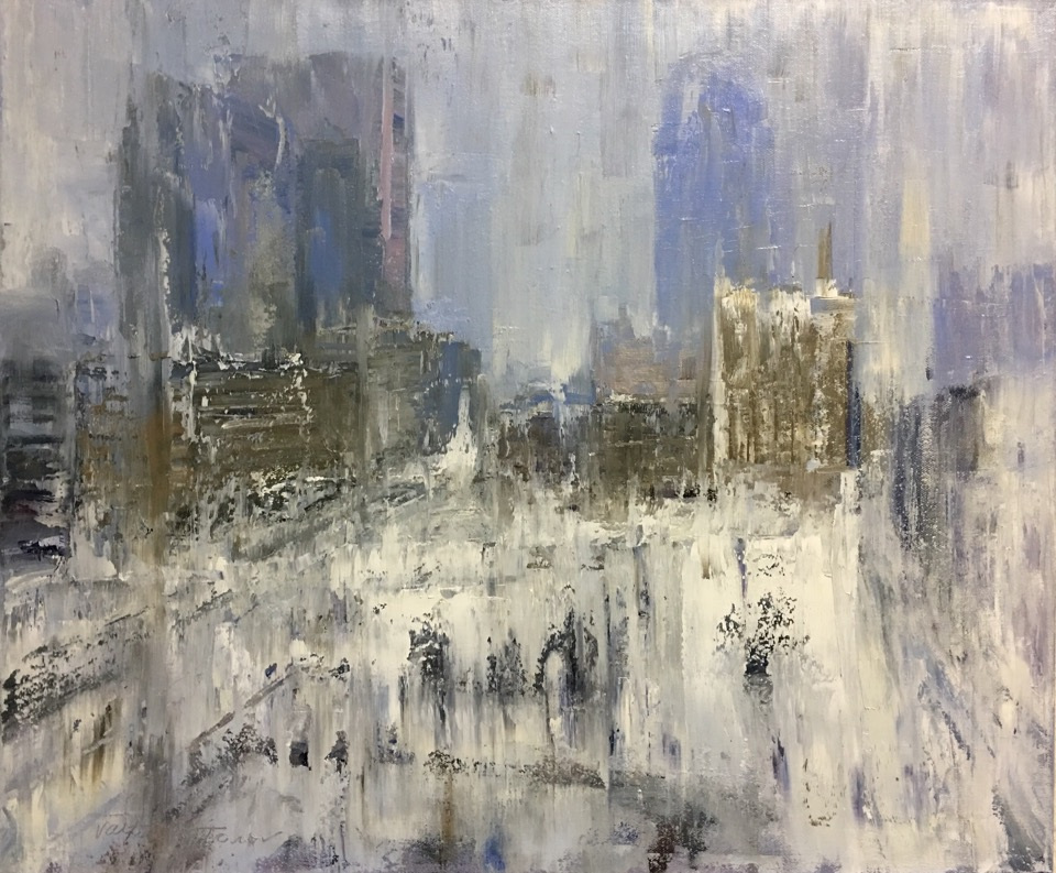 """Louisville Winter"" by Valtcho Tonov, 20x24 in, oil on canvas (2017), $900 (not framed, finished sides) 