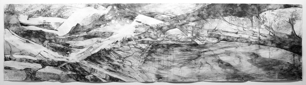 """Reflection"" by Britany Baker, 108x25in, charcoal on paper (2016)"