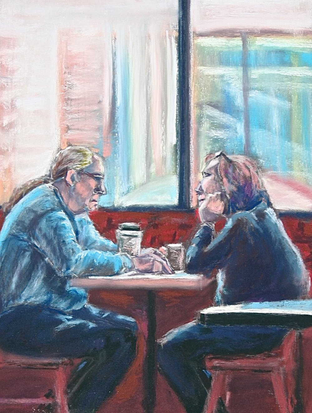 """Coffee Talk"" by Barb McDevitt, 12x16in, pastel (2016) $500 