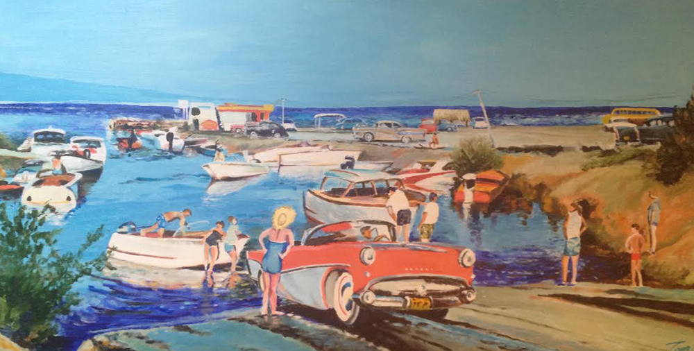 """Launch Party"" by Tom Cannady, 48x24in, acrylic on canvas (2016), $2400 