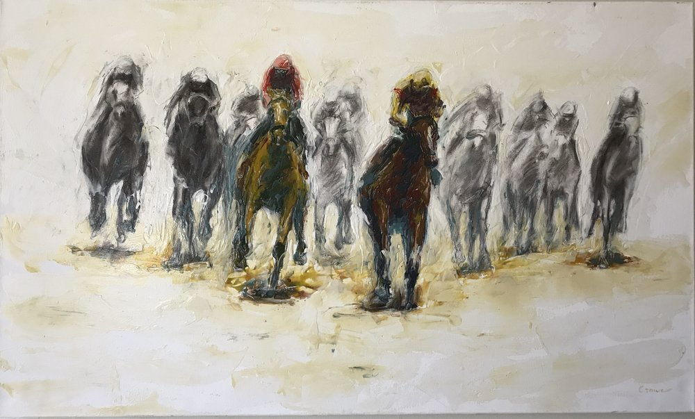 """Race 22"" by Geoff Crowe, 36x60in, acrylic on paper (2017). Available at Mellwood Arts Pigment Gallery during May."