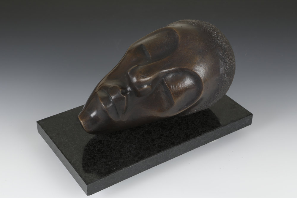 """At Rest"" by William Duffy, 6.5x11.6.5in, bronze sculpture (2011)"