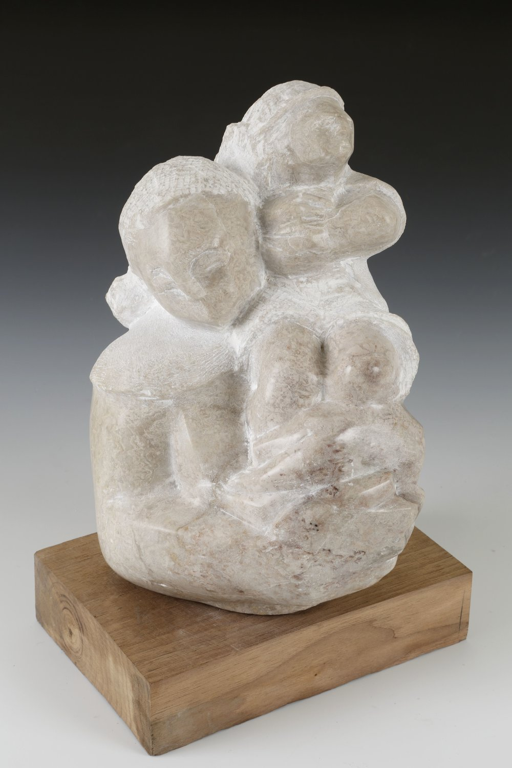 """Queen for a Day"" by William Duffy, alabaster sculpture on wood block"