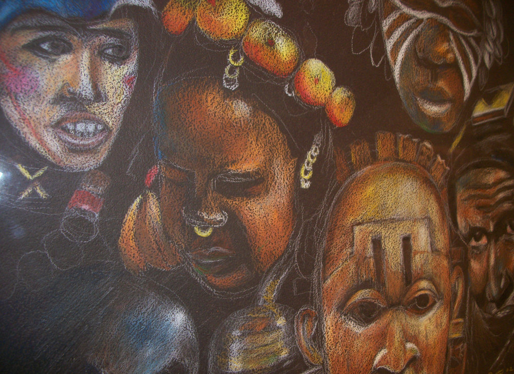 """African Heads"" by William Duffy, prismacolor on paper"