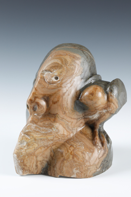 """A Little Bird Told Me"" by William Duffy, 7.75x5x7in, alabaster sculpture (2011)"