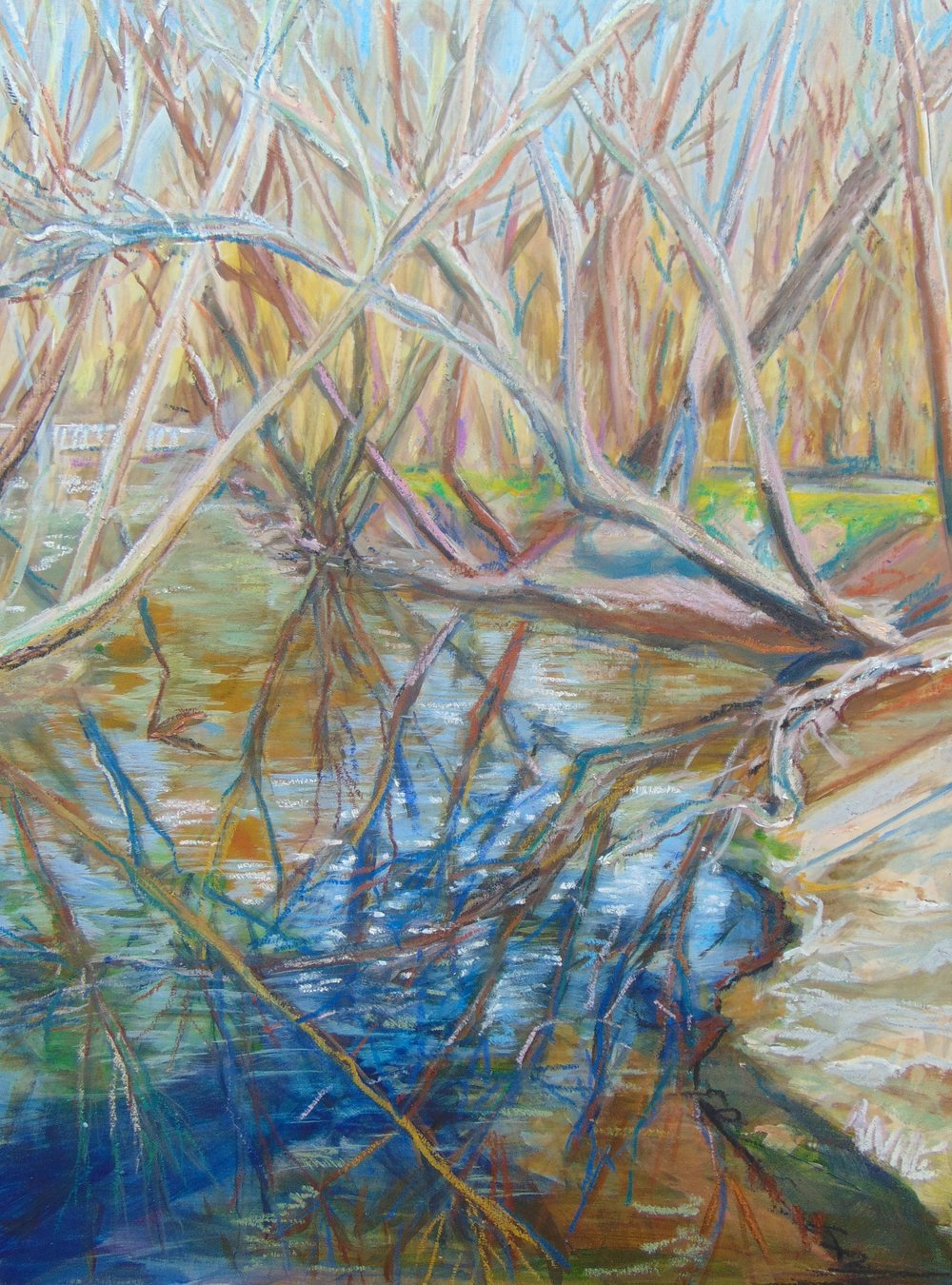 """Beargrass Reflected"" by Anne Borders, 16x12in, Acrylic and Oil Pastel on Wood Panel, $600 