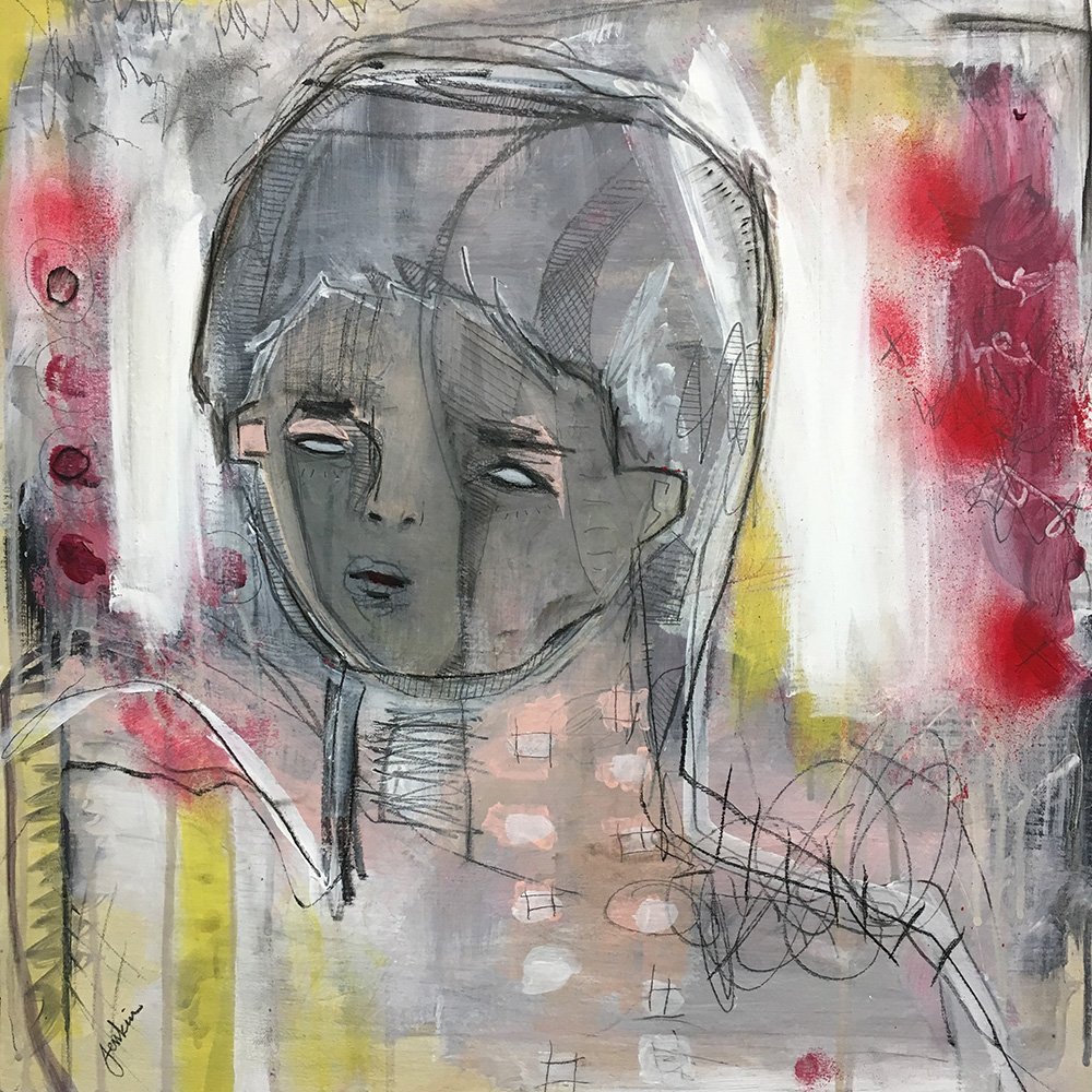"""""""Gray Face"""" by Joshua Jenkins, 20 x 20 x 1 in, acrylic and mixed media on canvas (2017)— on display at the Butchertown Social"""