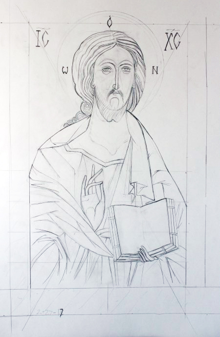 """Christ Pantocrator"" by Sarah Johnson, 14x22in, graphite on paper (2017)"