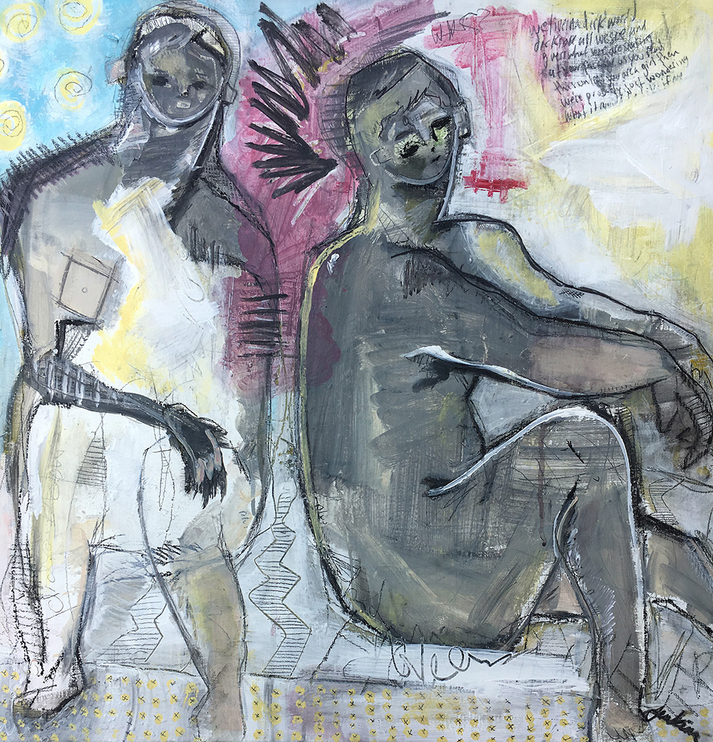 """""""Sunbathers"""" by Joshua Jenkins, 24 x 24 x 1 in, acrylic and mixed media on canvas (2017)— on display at the """"Queer Voices"""" exhibition at OPEN Community Art Center"""