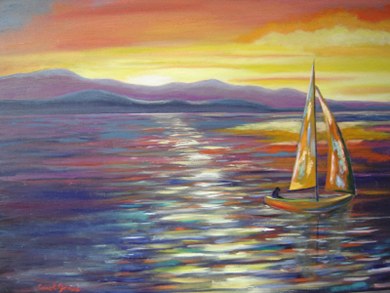 """Evening Sail"" by Carol Jones, 24x30in, oil on board (2017), $500 