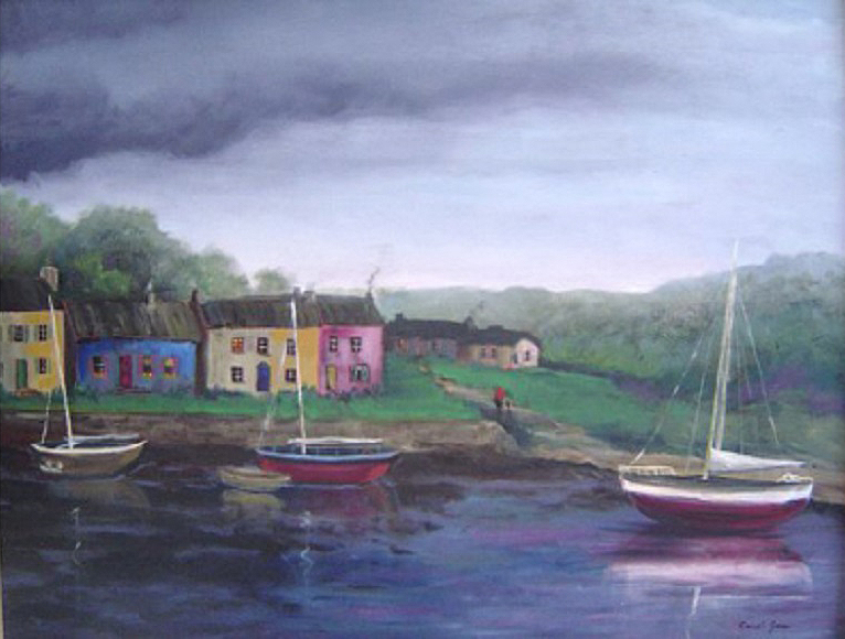 """Irish Fishing Village"" by Carol Jones, 22x28in, oil on board (2011), $500 