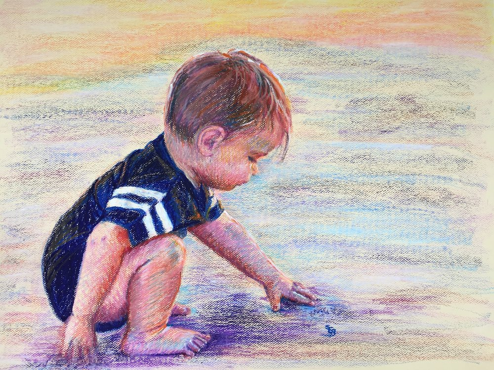 """Ollie at the Beach"" by Susan Brooks, 19x25in, pastel on paper (2017)"