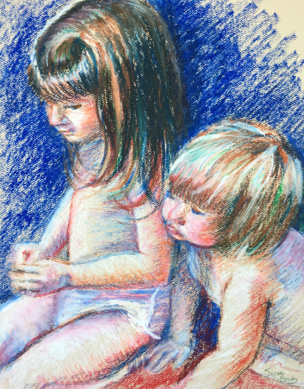 """Keeping Up with Big Sister"" by Susan Brooks, 14x11in, pastel on paper (2017)"