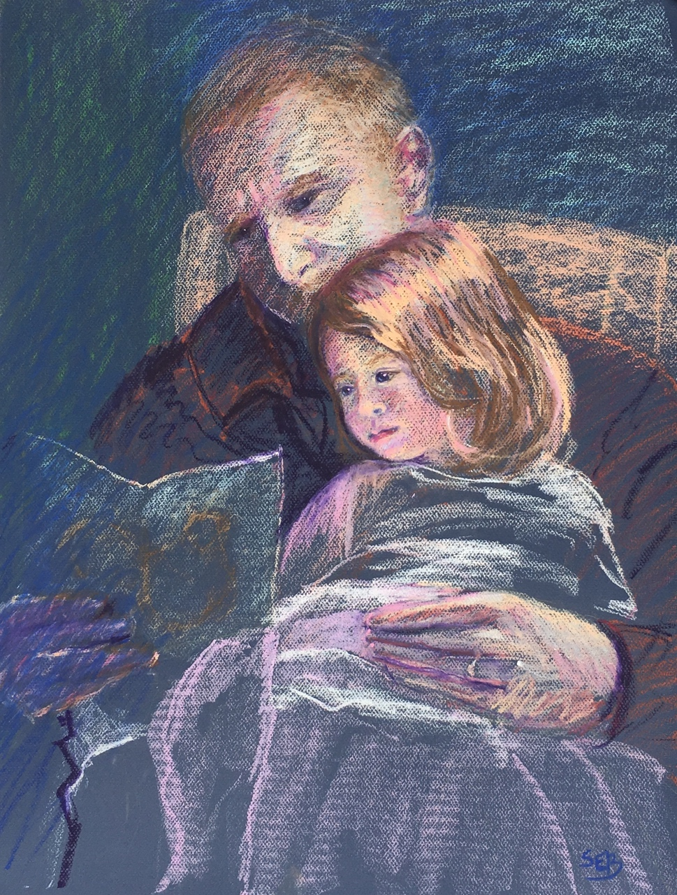"""Reading with Poppy"" by Susan Brooks, 25x19in, pastel on paper (2016)"