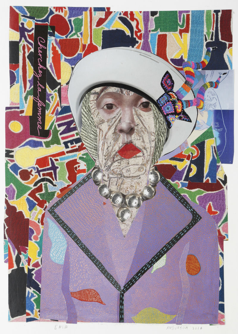 """Enid"" by Ann Stewart Anderson, 16x12in, cut paper mosaic (2017)"