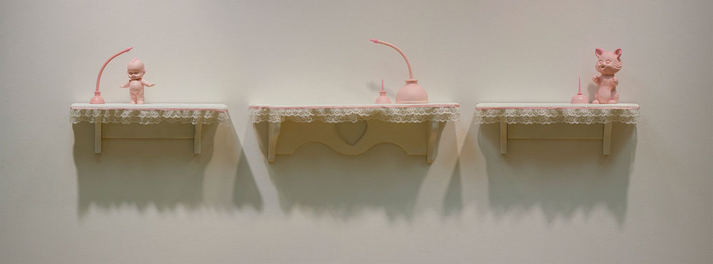 """The sweet nostalgic sadness of something lovely and lost. (Order)"" by Miranda Becht, 13x68x5in, tinted cast resin, flocking, lace, shelves (2016)"