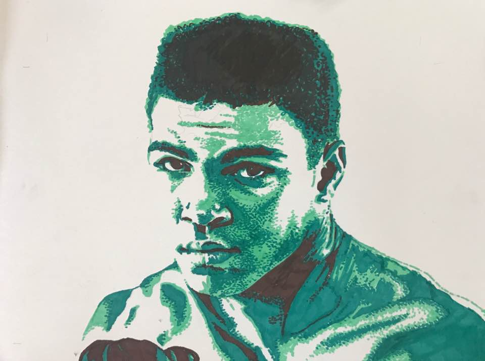 """Ali"" by Patricia Watson, 11x14in, sharpie on paper"