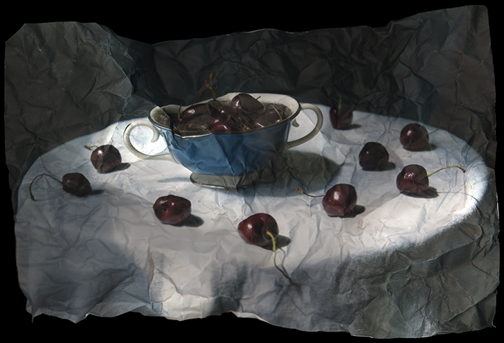 """Still Life with Cherries and Blue Bowl"" by Mitch Eckert, 30x49in, Archival Pigment Print (2006), $1200 