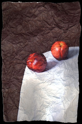 """Still Life with Two Nectarines"" by Mitch Eckert, 38x26in, Archival Pigment Print (2006), $850 