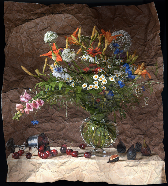 """Still Life with June Bouquet, Cherries and Figs"" by Mitch Eckert, 24x18in, Archival Pigment Print (2006), $450 