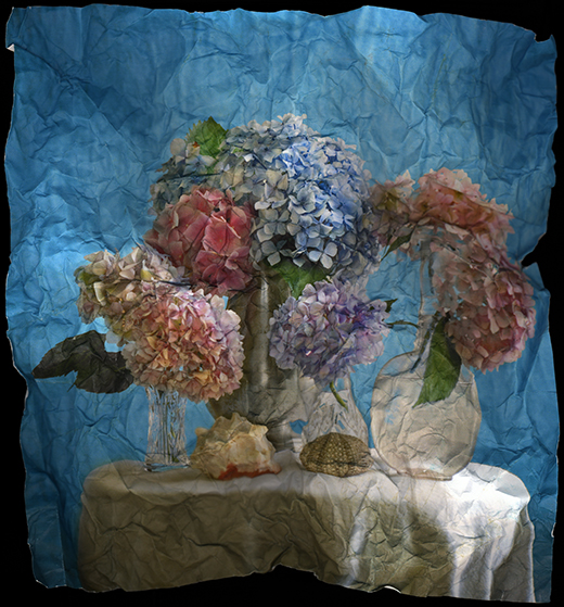 """Still Life with Hydrangea (in blue)"" by Mitch Eckert, 30x28in, Archival Pigment Print (2006), $750 