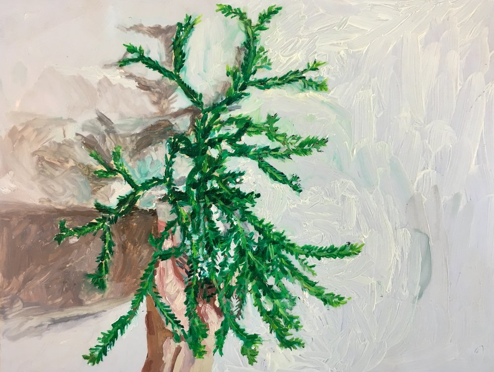 """Hand Palm"" by Adam Chuckn, 5.5x7in, oil on mylar"