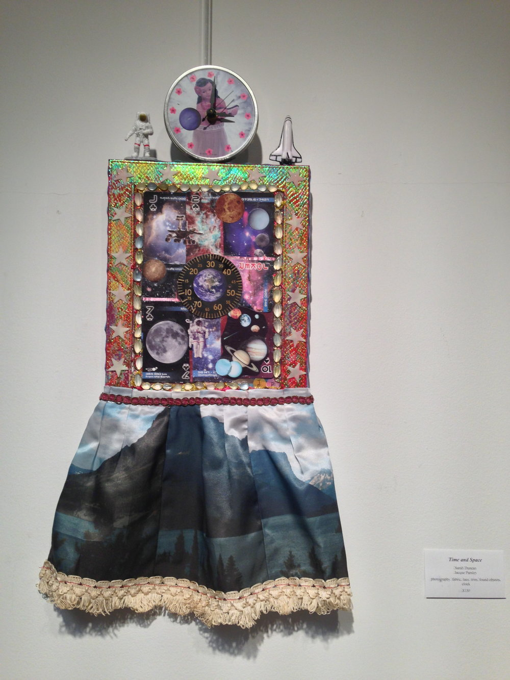 Time and Space, Sarah Duncan & Jacque Parsley, photography, fabric, lace, trim, found objects, clock, Price not available. (Photo courtesy of Kelly Rains.)