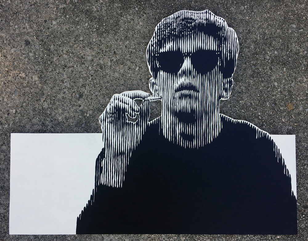 """Anthony Michael Hall"" by Erik Orr, 2.5x3.5ft, acrylic on wood (2017)"