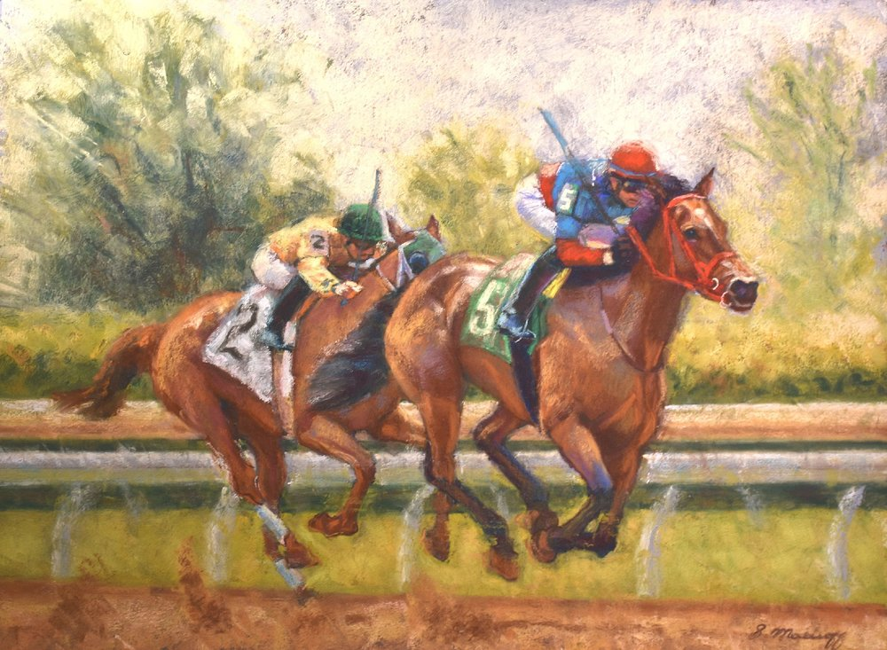 """Catching Up"" by Sharon Matisoff, 19x36in, pastel on sanded paper (2017)"