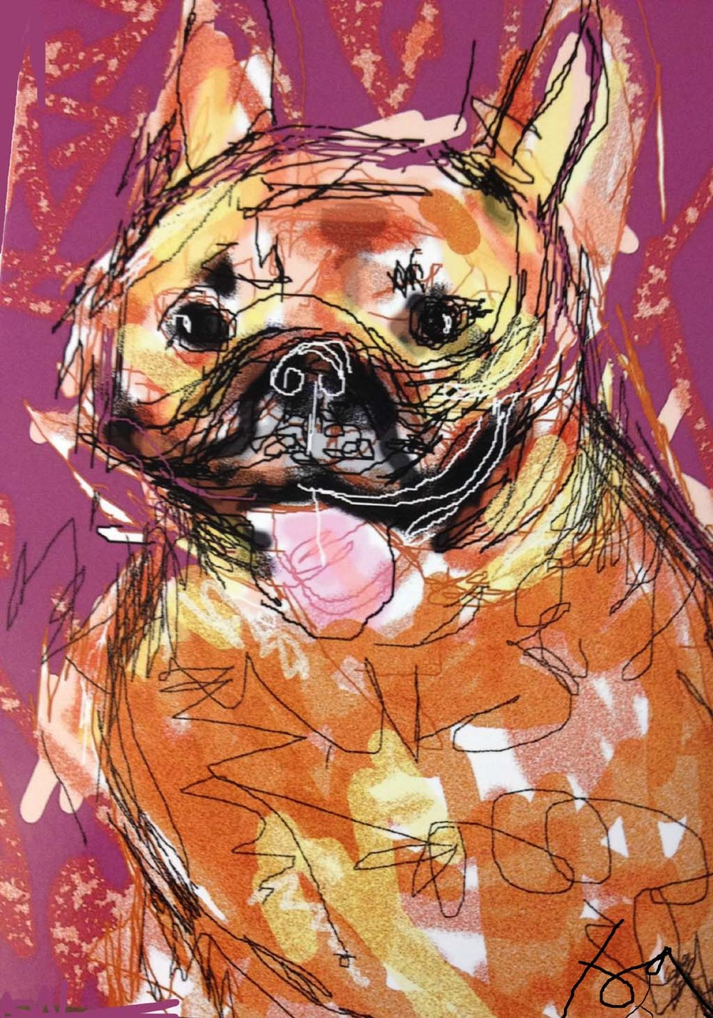 """Frenchie"" by Joyce Goldin, digital painting (2014)"