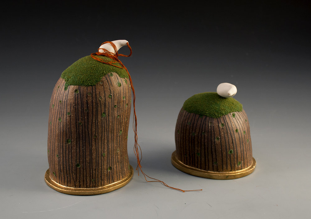 """Solidarity"" by Amy Chase, 9x7x4in, Porcelain, Stoneware, Flocking, String, Luster"