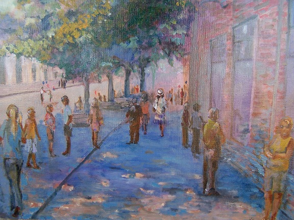 """Museum Row"" by Kathie Daulton, 16x20in, oil on canvas (2012), $300 