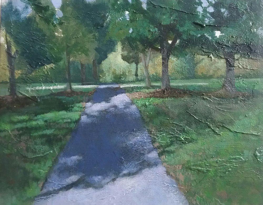 """Shawnee Park Trail"" by Victor Sweatt,8x10in, acrylic on canvas, 2017, $450"