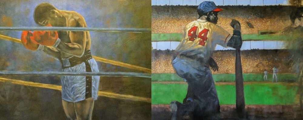 """Ali & Aaron: United In The Fight"" by Victor Sweatt, acrylic on canvas, 2017, courtesy Slugger Museum."