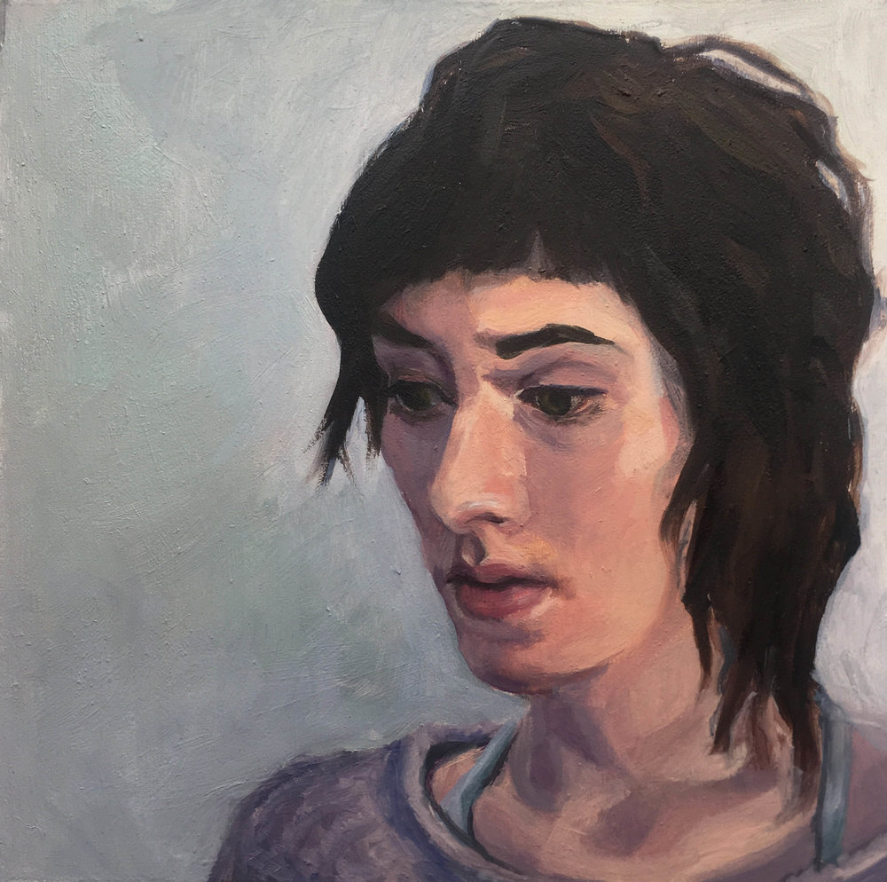 """Claire (painter),"" Mary Clore, oil on panel, 5x5in, 2016, $675"
