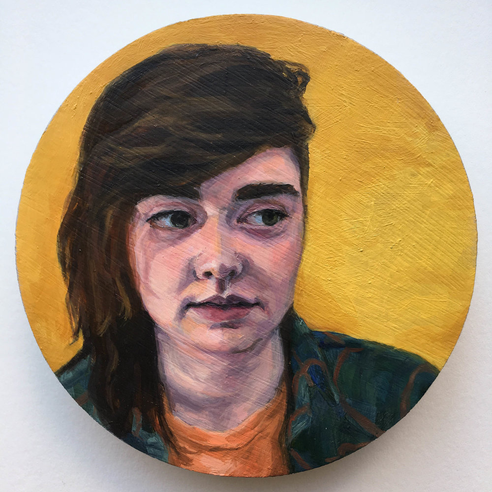 """Hannah (poet, archaeologist),"" Mary Clore, oil on p[anel, 5x5in, 2016, $675"
