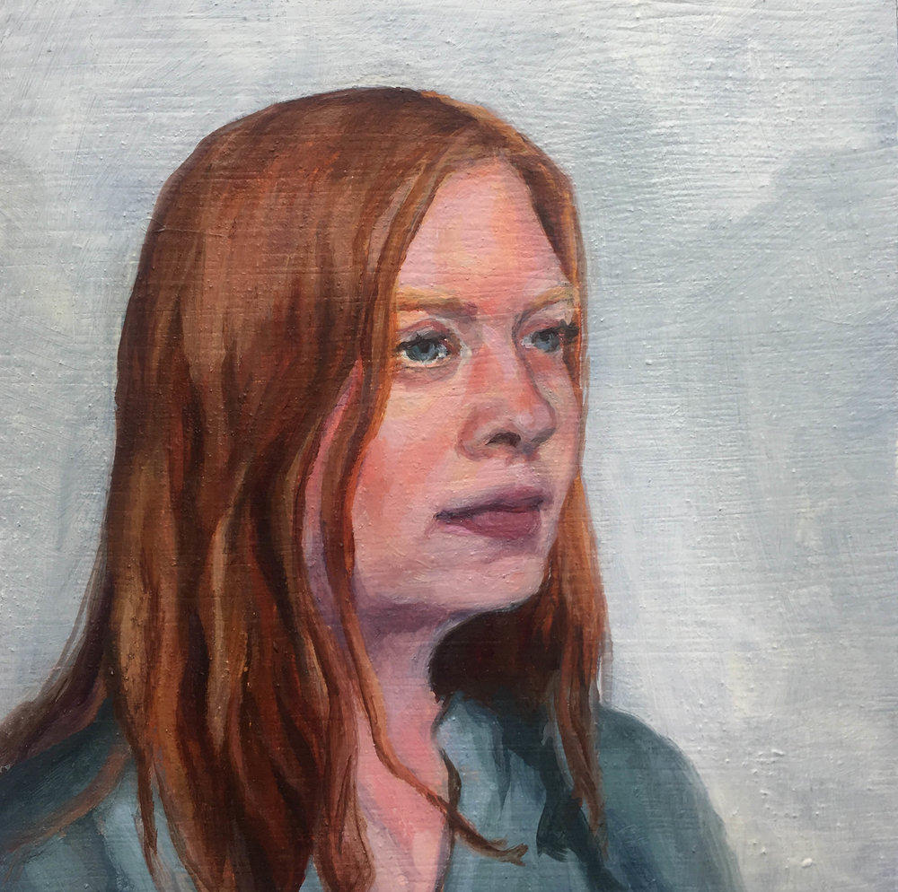 """Maddie (cartoonist, bookmaker),"" Mary Clore, oil on panel, 5x5in, 2016, $675"