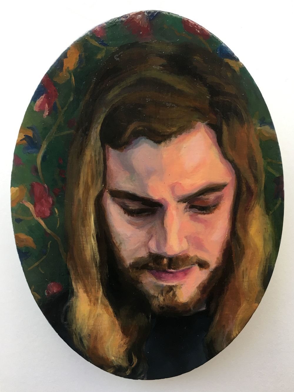 """Corey (psychologist)"" Mary Clore, oil on panel, 5x7in, 2016, $675"