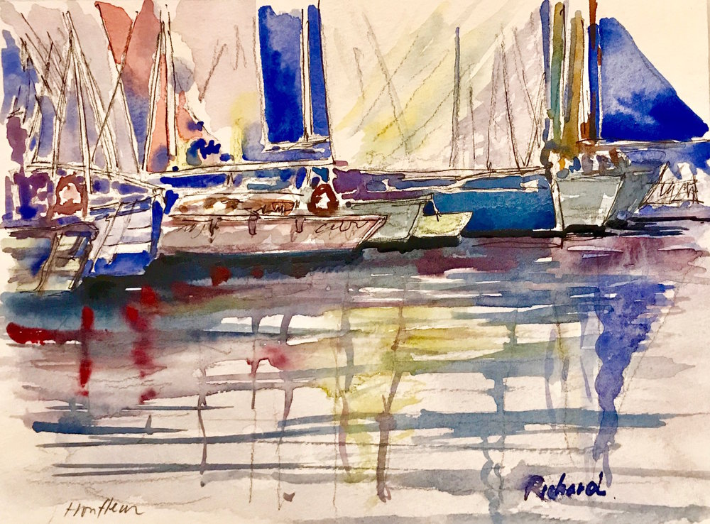 """The Harbor"" by Richard Shu, watercolor, 12x14in, 2017, $800"