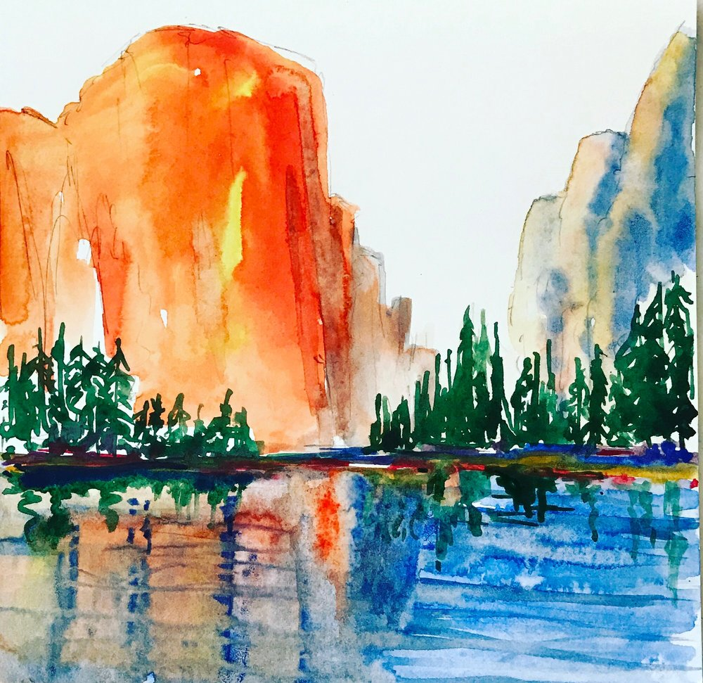 """El Capitan"" by Richard Shu, watercolor, 14x14in, 2017, $850"