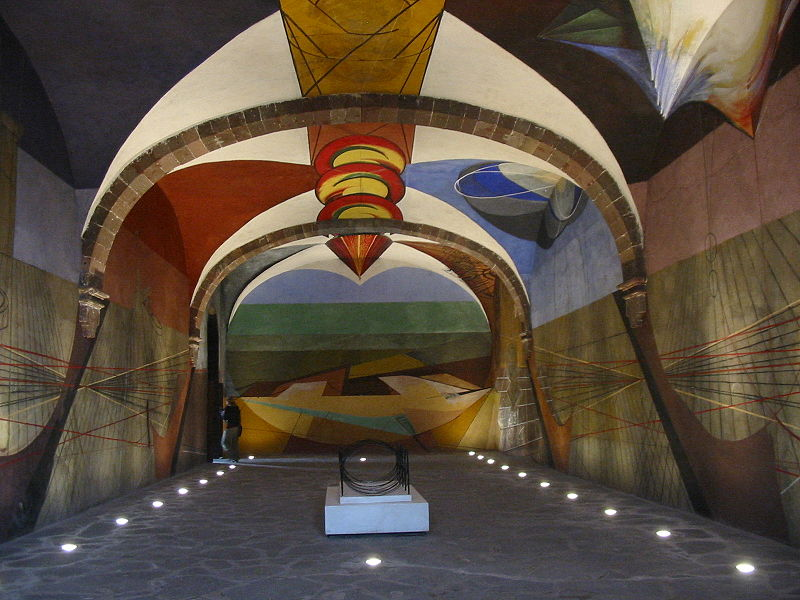 Unfinished 1940s mural painted by David Alfaro Siqueiros, in Escuela de Bellas Artes, a cultural center in San Miguel de Allende, Gto.