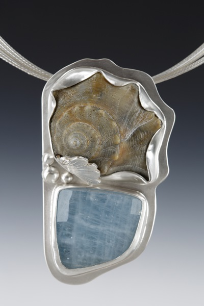 """Shell with Aquamarine Necklace"" by Dawn Middleton, 2x3in, 2016"