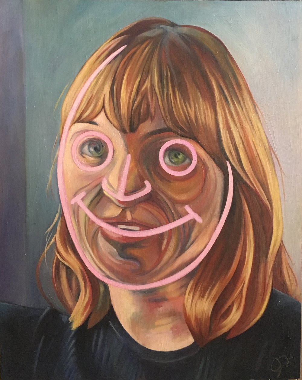 """Smiling Faces Sometimes"" by Julia Davis, oil on panel, 24x30in, 2016, $800"