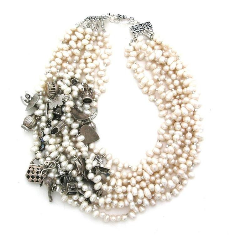 """Custom Pearl Charm"" by Emily Maynard, vintage sterling silver charms, freshwater pearls, faceted Indian silver beads, sterling silver clasp, 2015, From $300"