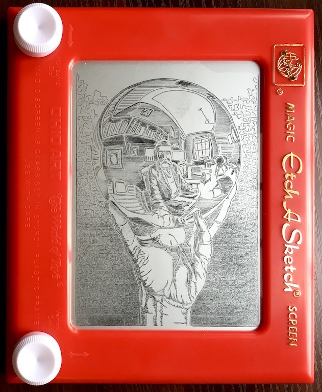 """Reflecting Sphere (Escher)"" by Carrie Johns, Full size Etch-a-Sketch, 2016"