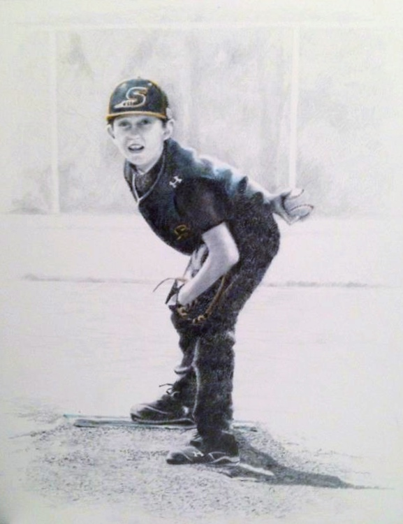 """Play Ball"" by Carrie Johns, graphite, 16x20in, 2017, POR"
