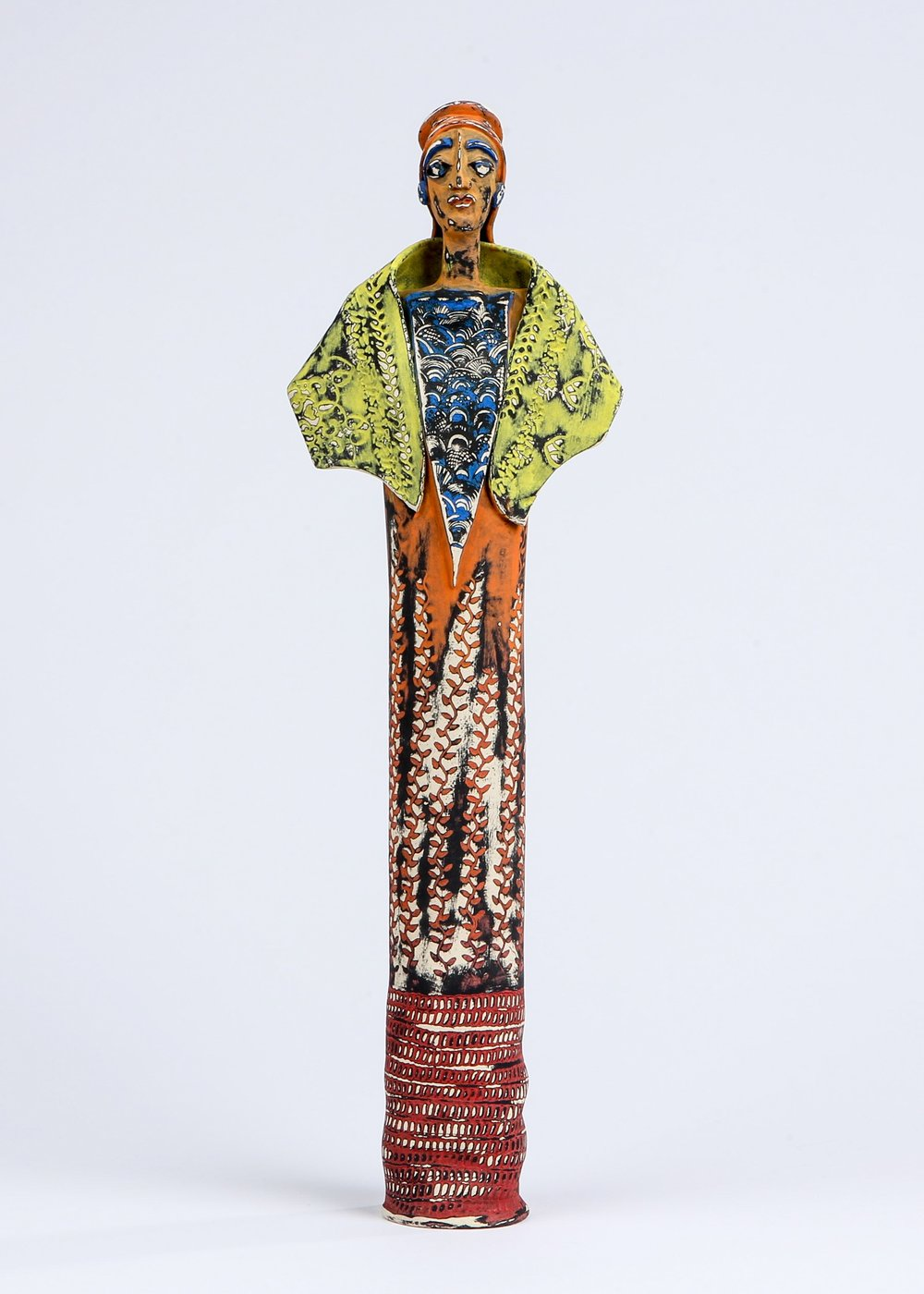 """Queen Ilana"" by Sharon Ramick, ceramic,4.5x22x3.5in, 2017 POR"